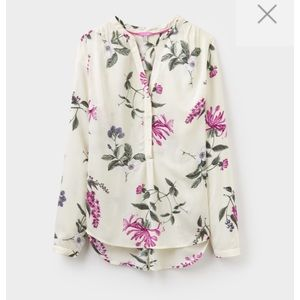 Joules Pop Over Blouse Rosamund Cream Hedgerow